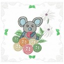 Mouse with buttons Quilt Block